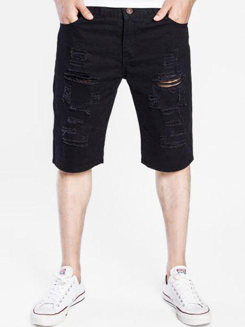 Cheap Destroyed Design Zip Fly Shorts