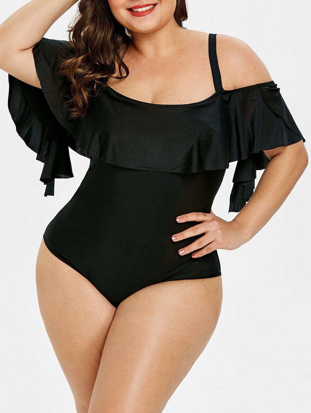 Hot Back Cut Out Plus Size Ruffle Embellished Swimwear