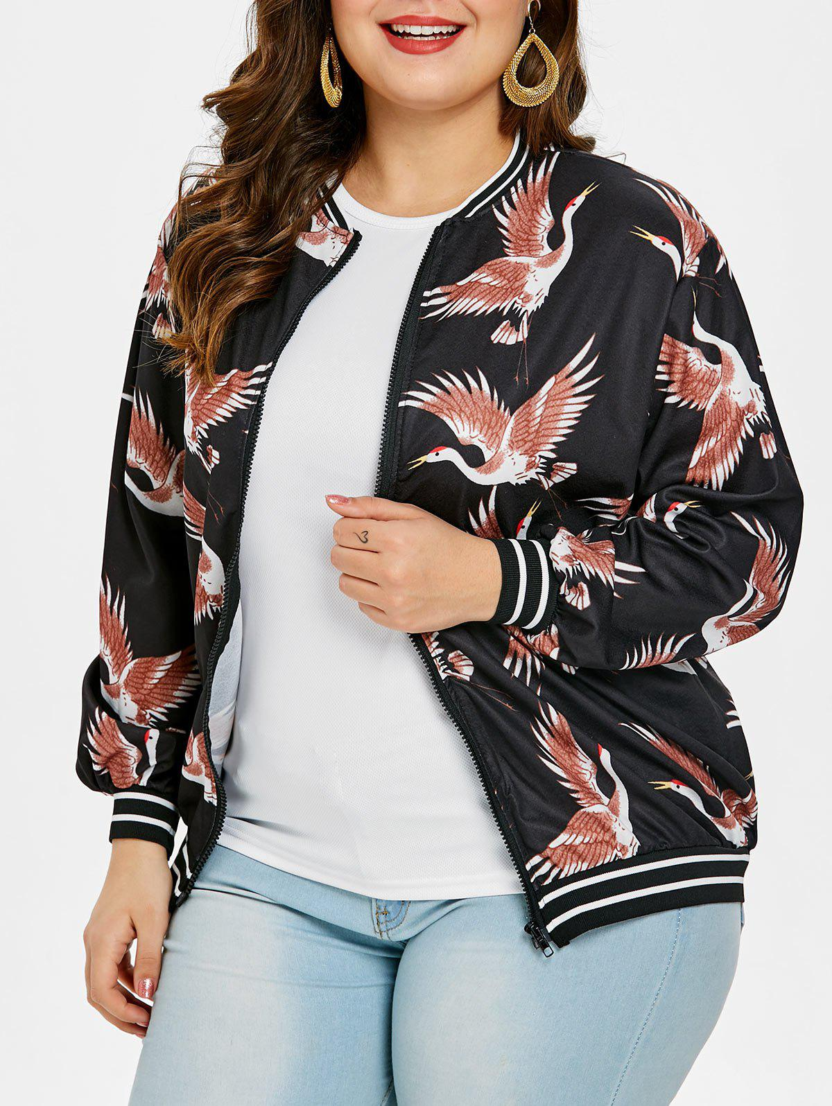 Buy Birds Pattern Plus Size Zip Up Jacket