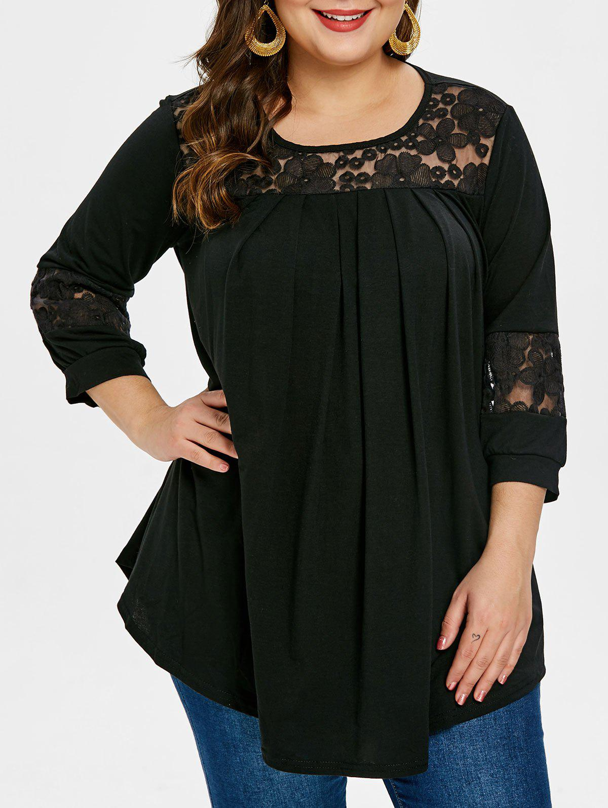 Store Plus Size Round Neck Embroidery T-shirt