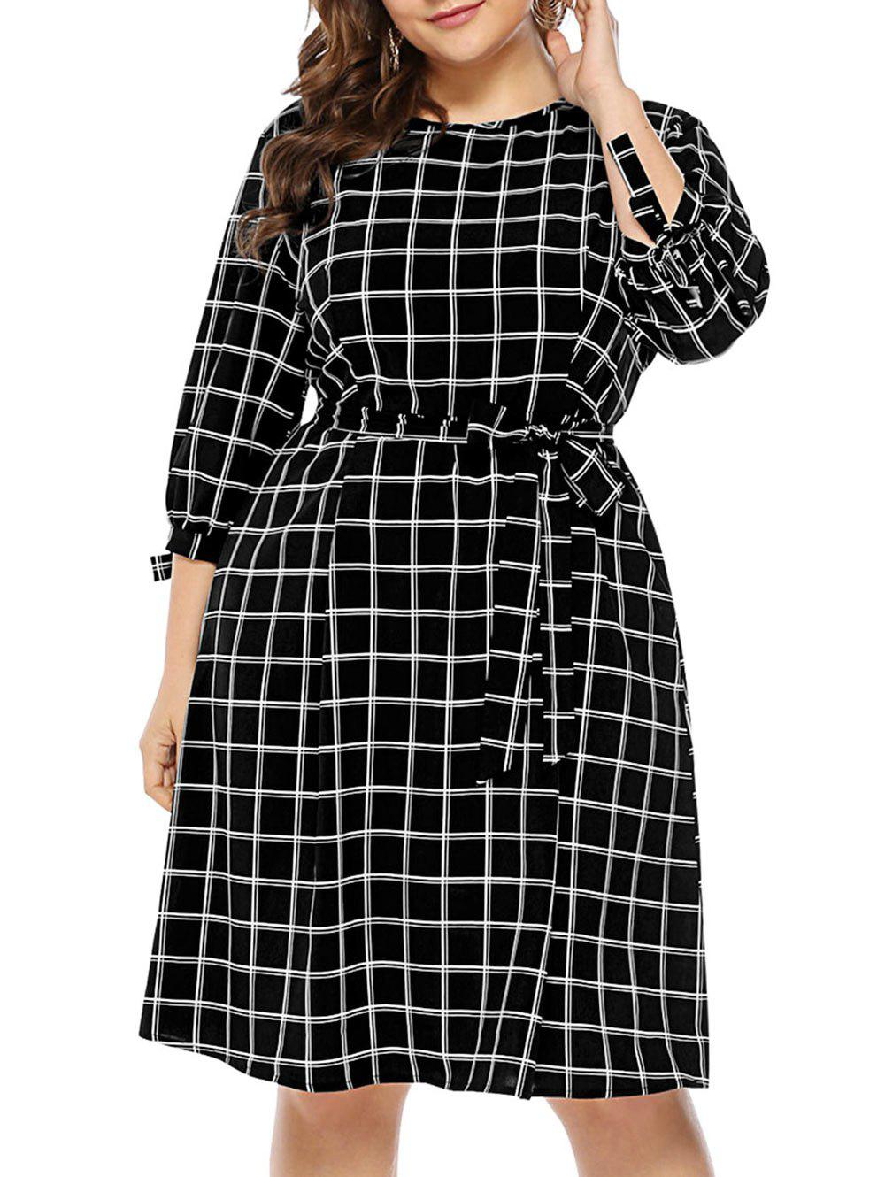 Store Plus Size Plaid Self Tie Dress