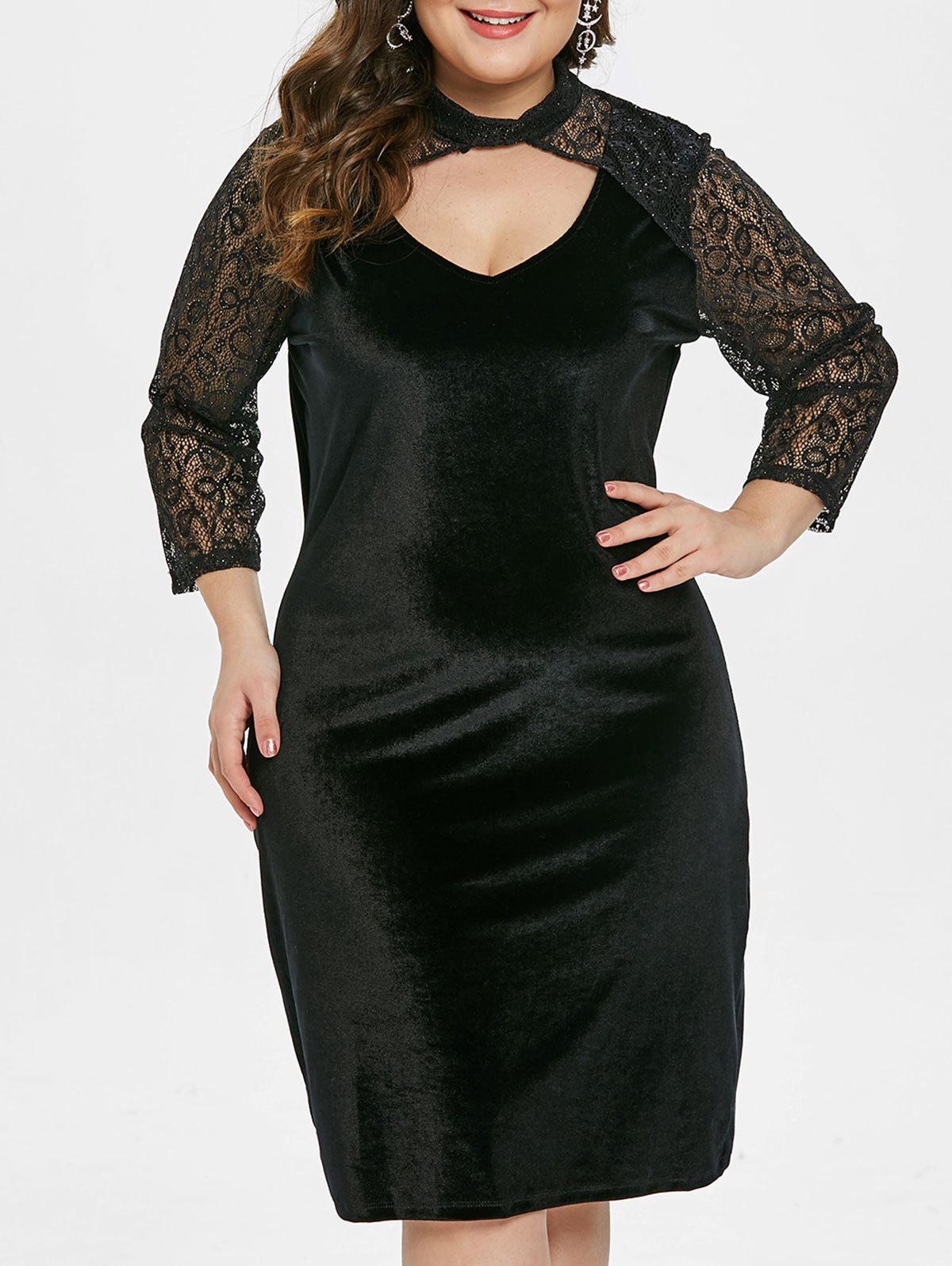 Fancy Lace Sleeve Plus Size Velvet Bodycon Dress