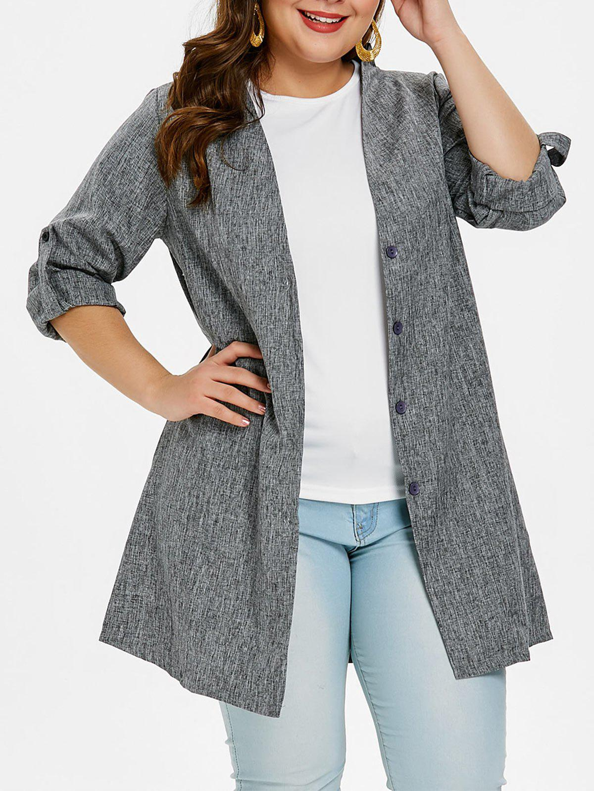 New Plus Size Button Up Long Sleeve Coat