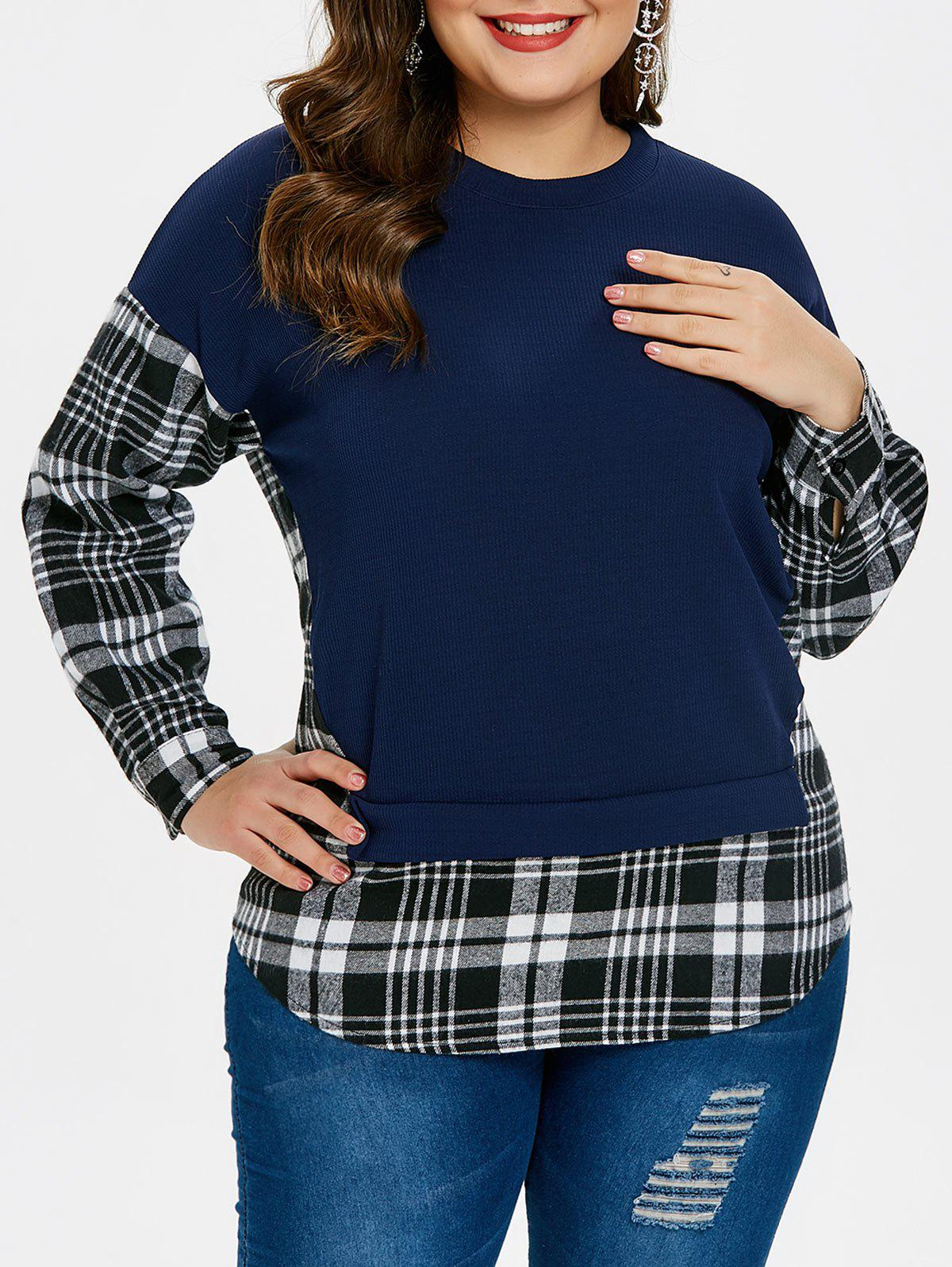 Fancy Long Sleeve Checked Panel Plus Size Sweatshirt