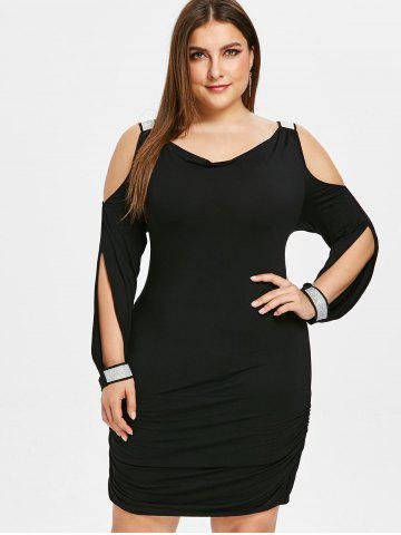 Plus Size Sequins Embellished Cold Shoulder Mini Dress