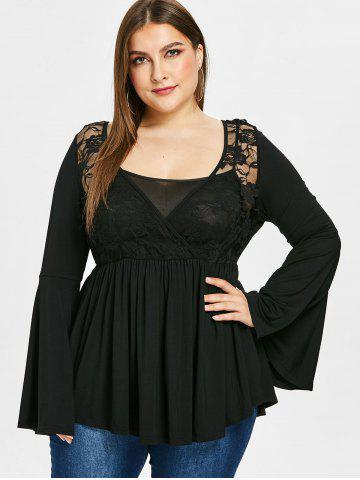 Plus Size Flare Sleeve Cross Front Lace Draped T-shirt