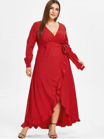 Plunge Plus Size Ruffle Hem Wrap Maxi Dress