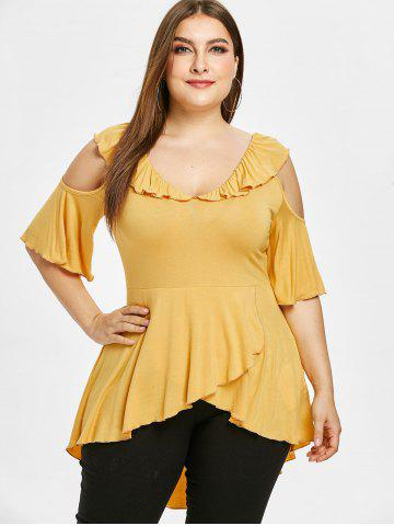 Plus Size Bell Sleeve Cut Out Ruffle Tulip T-shirt