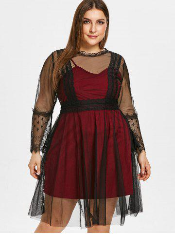 See Through Plus Size Lace Panel Two Piece Dress