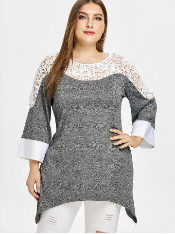 Plus Size Three Quarters Two Tone Applique T-shirt