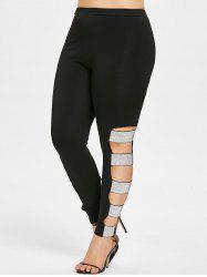 Plus Size Ripped Sequined Leggings -