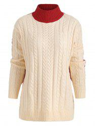 Color Block Crew Neck Cable Knit Sweater -