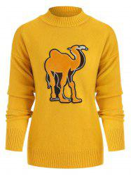 Crew Neck Camel Pattern Sweater -