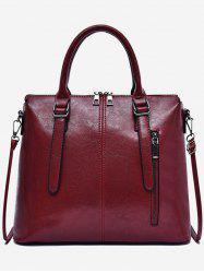 Oil Wax Leather Zip Tote Bag With Strap -