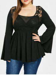 Plus Size Flare Sleeve Cross Front Lace Draped T-shirt -