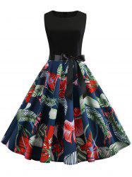 Belted Leaves Print A Line Dress -