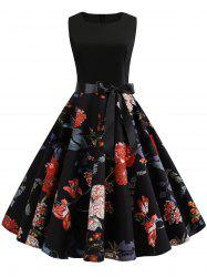 Belted Flower Midi A Line Dress -
