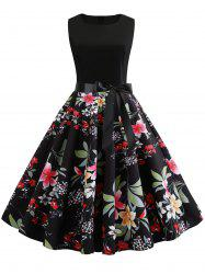 Flower Bow Belted A Line Dress -