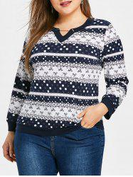 Plus Size Ethnic Printed Long Sleeve Top -