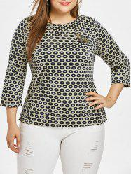 Plus Size Round Neck Butterfly Top -