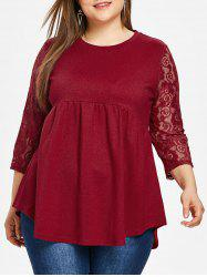 Lace Sleeve Plus Size Round Neck T-shirt -