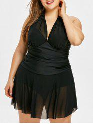 Cross Back Plus Size Mesh Skirted Swimsuit -