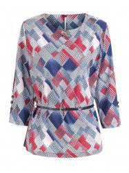 Plus Size Geometric Print Belted Top -