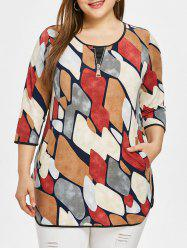 Plus Size Round Neck Zipper Printed Top -