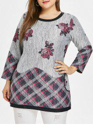 Round Neck Rose Print Plus Size Top -