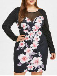 Mesh Panel Plus Size Floral Print Bodycon Dress -
