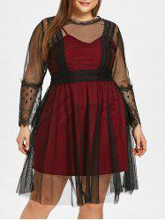 See Through Plus Size Lace Panel Two Piece Dress -