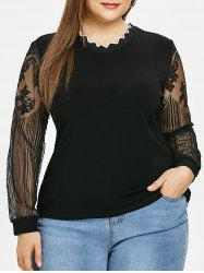 Lace Panel Scalloped Plus Size T-shirt -