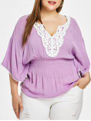 Plus Size Butterfly Sleeve Splicing Blouse -