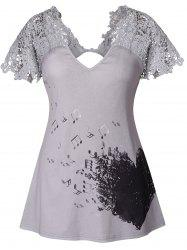 Heart and Note Pattern Lace Print T-shirt -