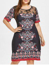 Plus Size Lace Panel Midi Sheath Dress -