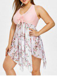 Plus Size Floral Asymmetrical Tankini Sets -
