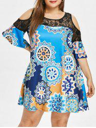 Plus Size Lace Panel Printed Straight Dress -