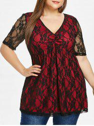 Short Sleeve Plus Size Lace T-shirt -