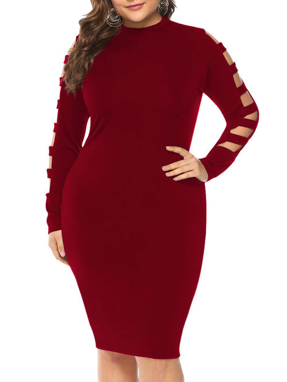 Hot Plus Size Cut Out Sleeve Bodycon Dress