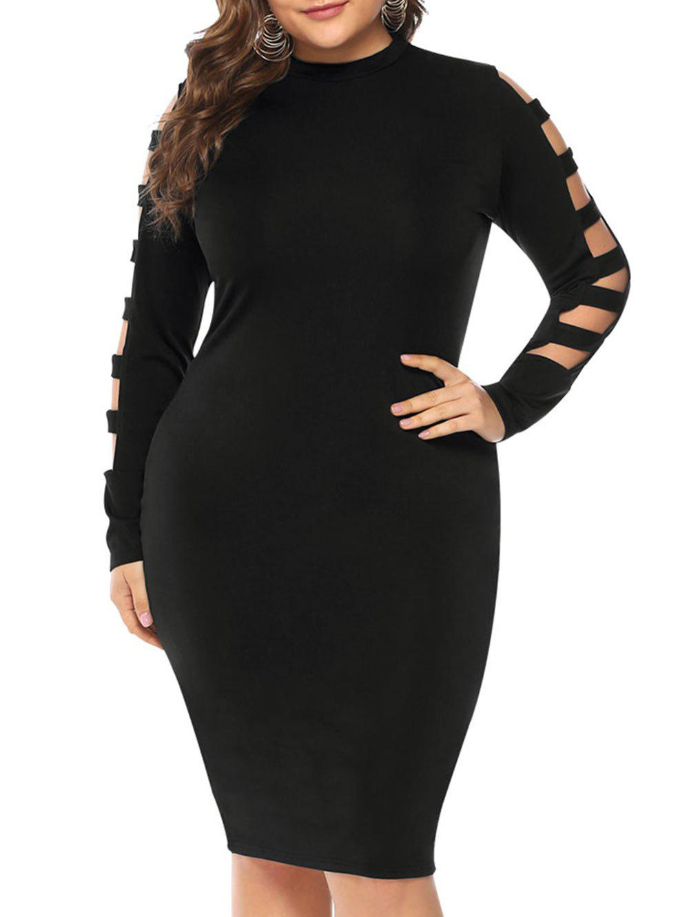 Discount Plus Size Cut Out Sleeve Bodycon Dress
