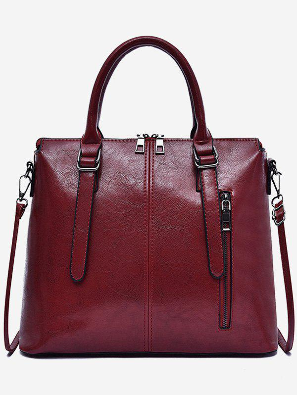Trendy Oil Wax Leather Zip Tote Bag With Strap