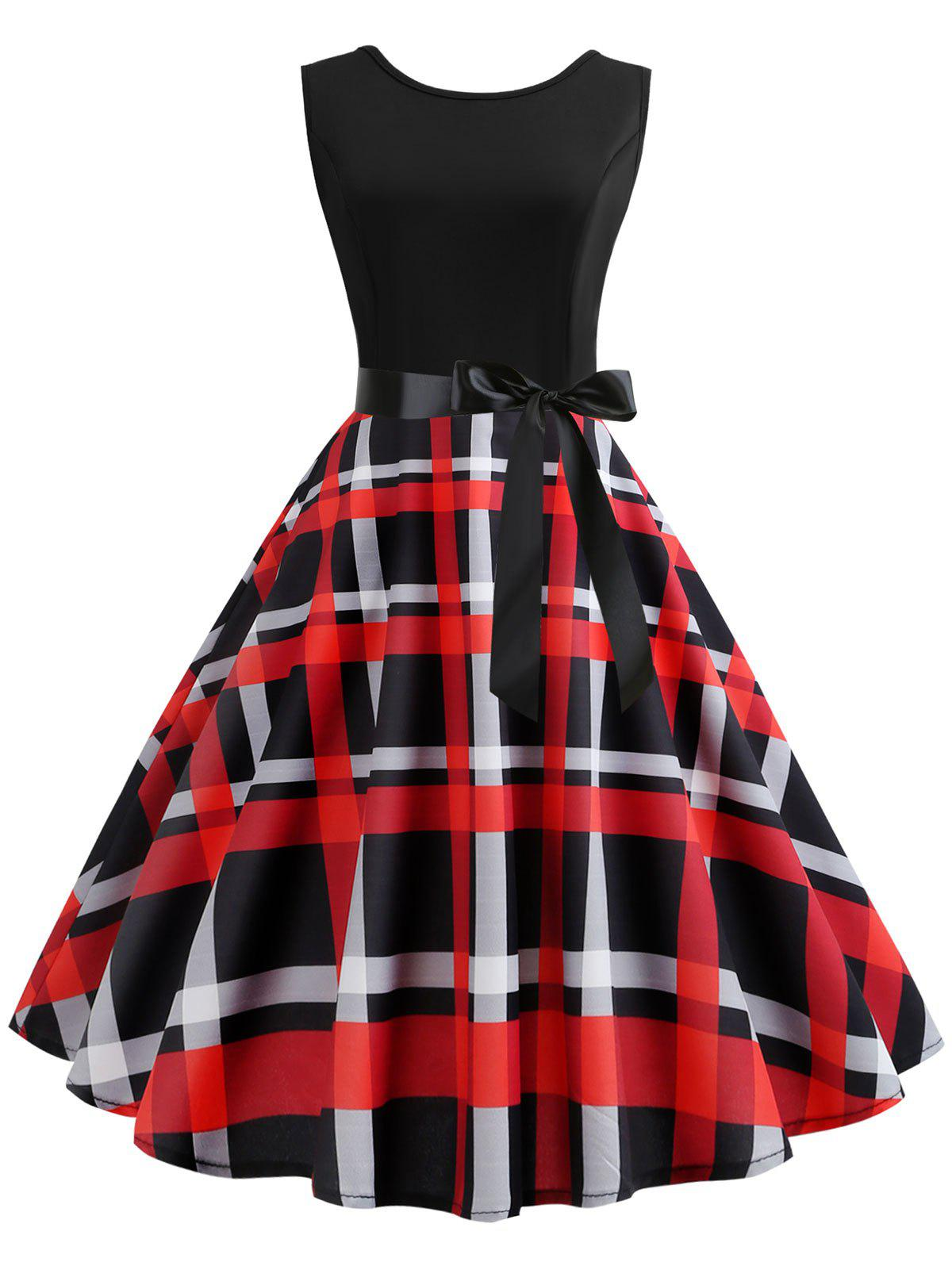 Trendy Plaid Belted Midi A Line Dress