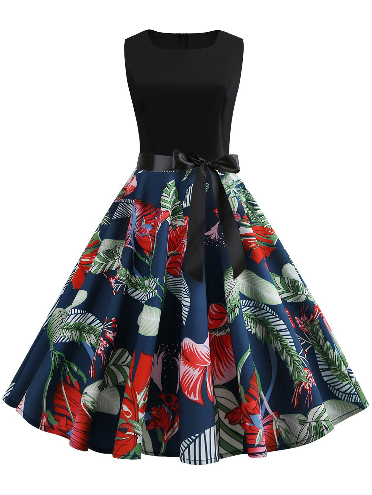 Trendy Belted Leaves Print A Line Dress