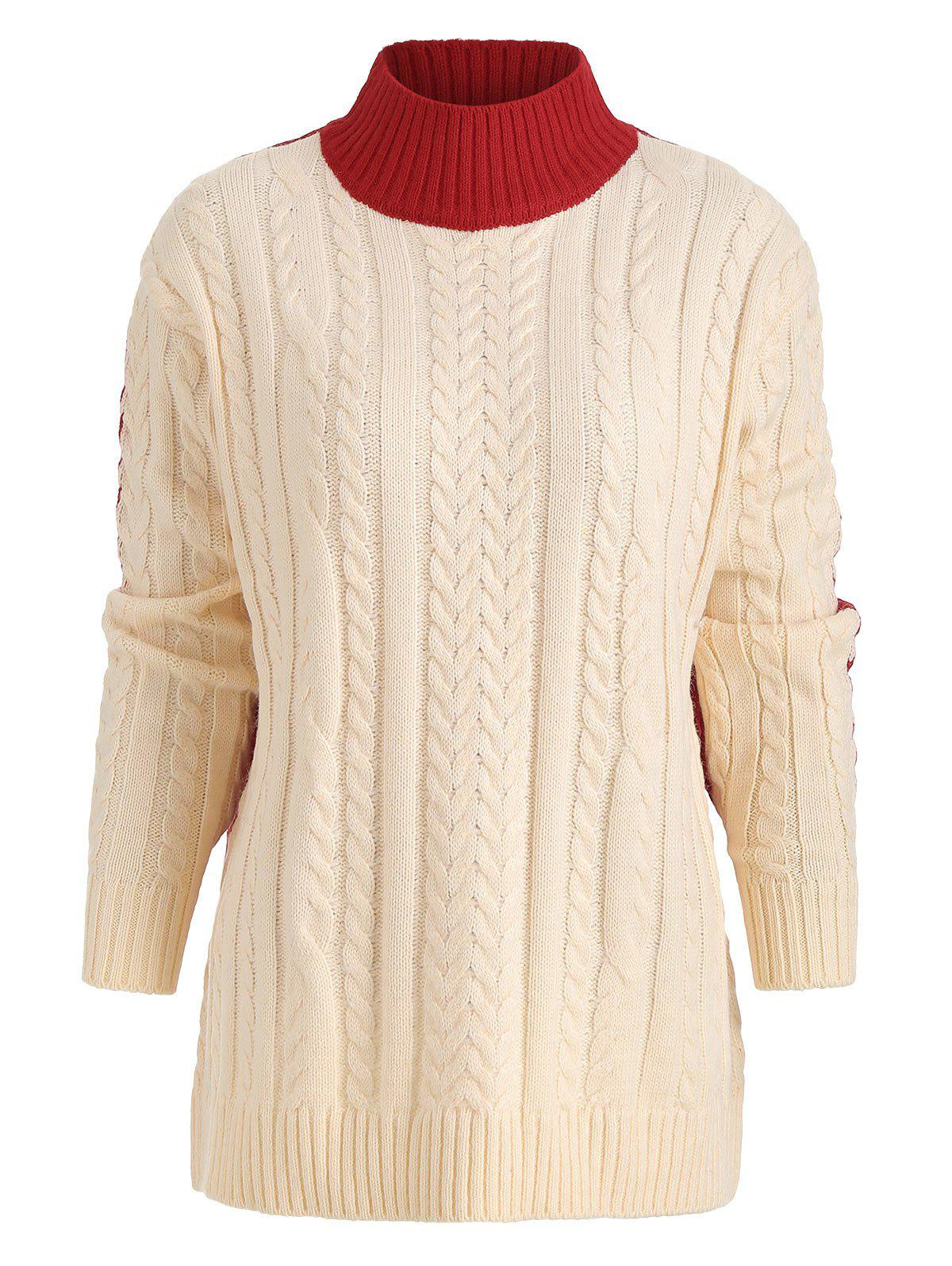 Buy Color Block Crew Neck Cable Knit Sweater