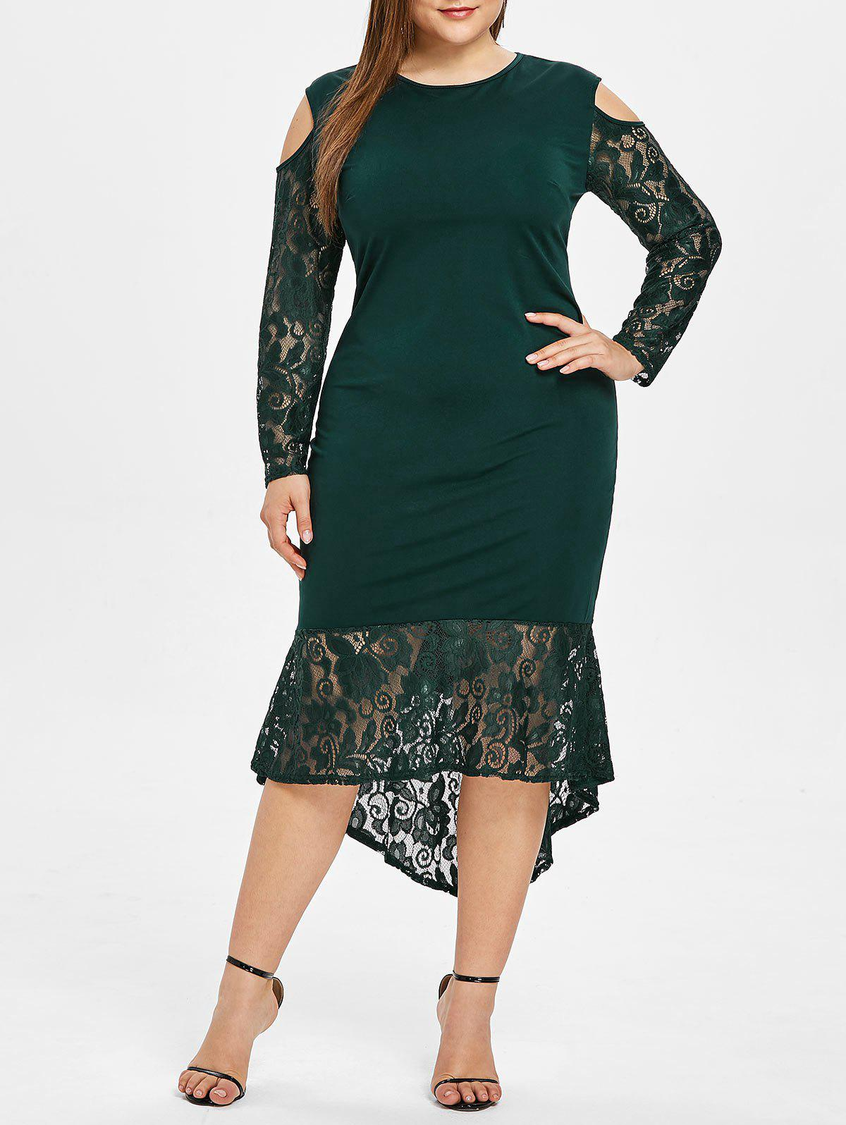 Store Lace Ruffle Hem Plus Size Bodycon Dress