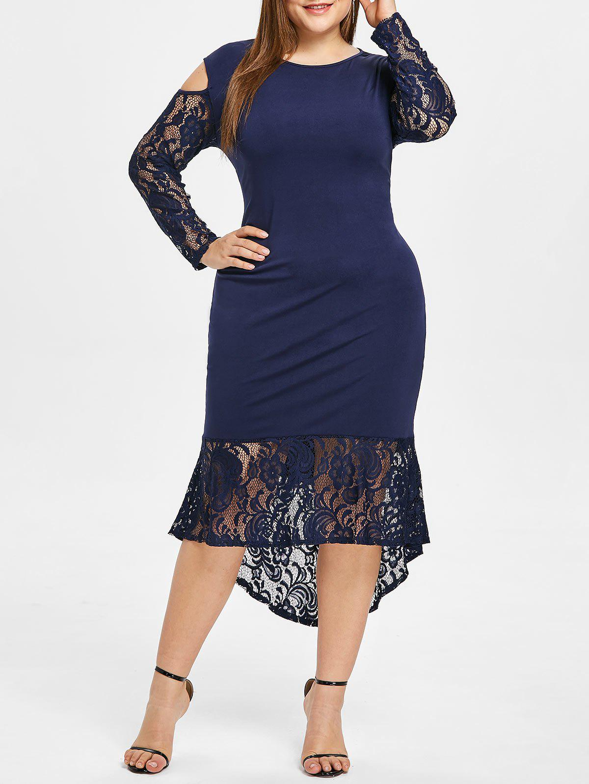 Chic Lace Ruffle Hem Plus Size Bodycon Dress