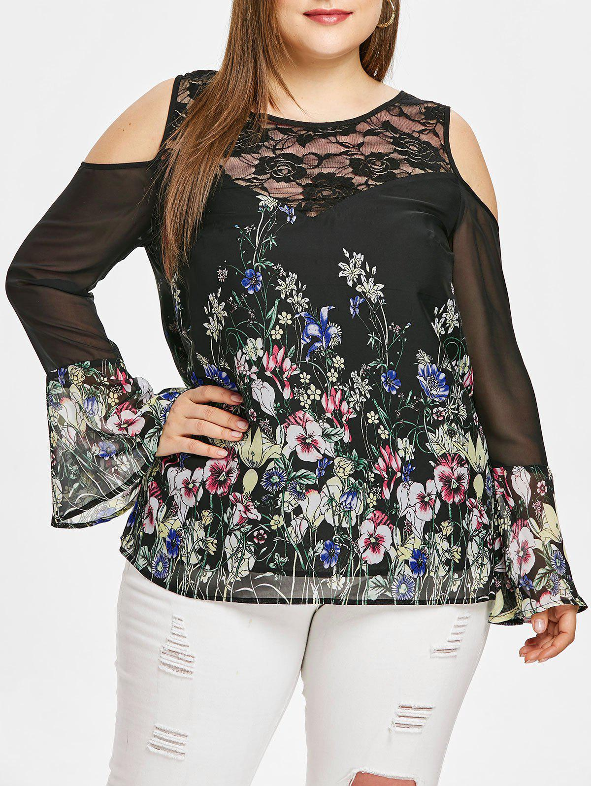 2d30996fb4aef 34% OFF   2019 Plus Size Sheer Bell Sleeve Cold Shoulder T-shirt ...