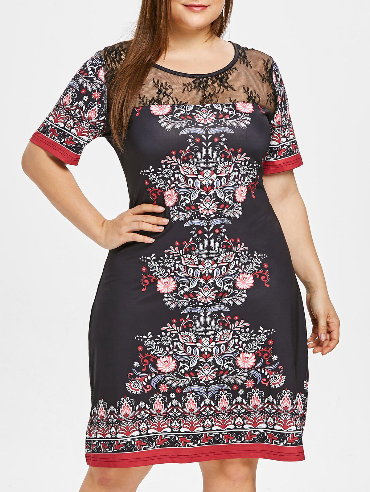 Discount Plus Size Lace Panel Midi Sheath Dress
