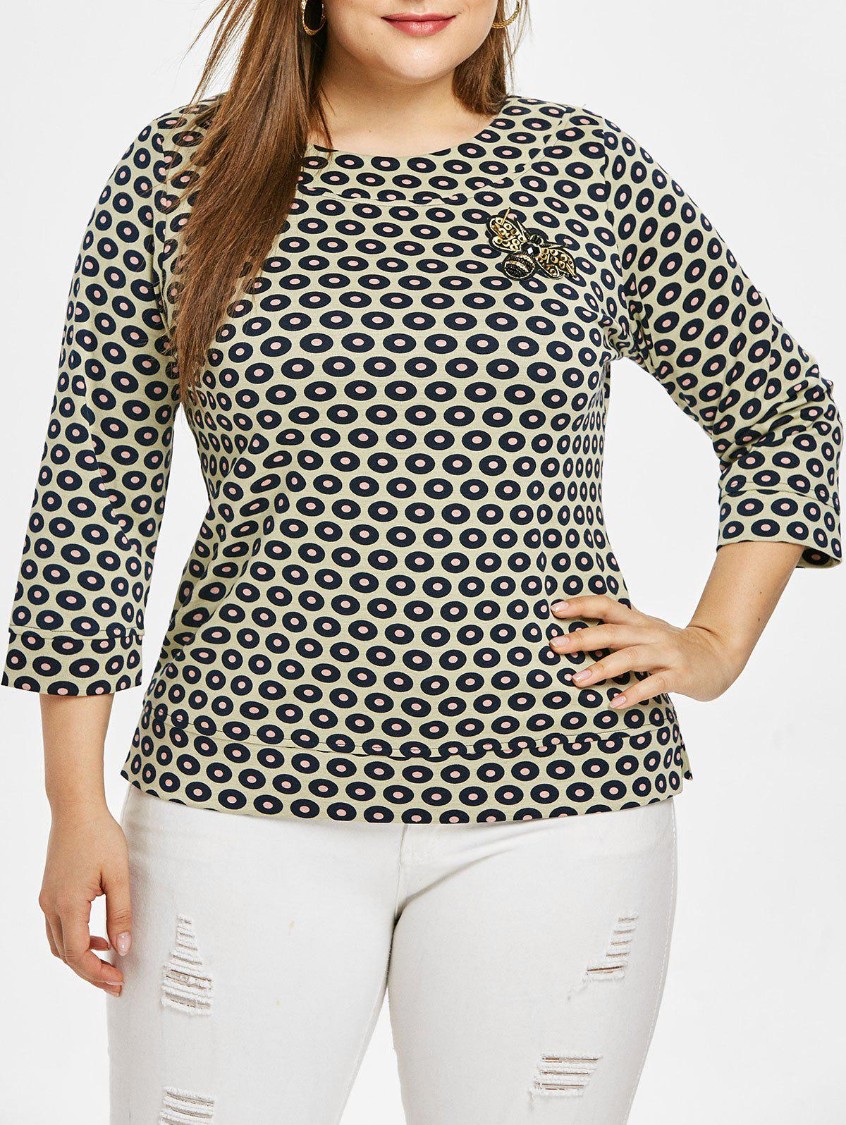 Outfit Plus Size Round Neck Butterfly Top