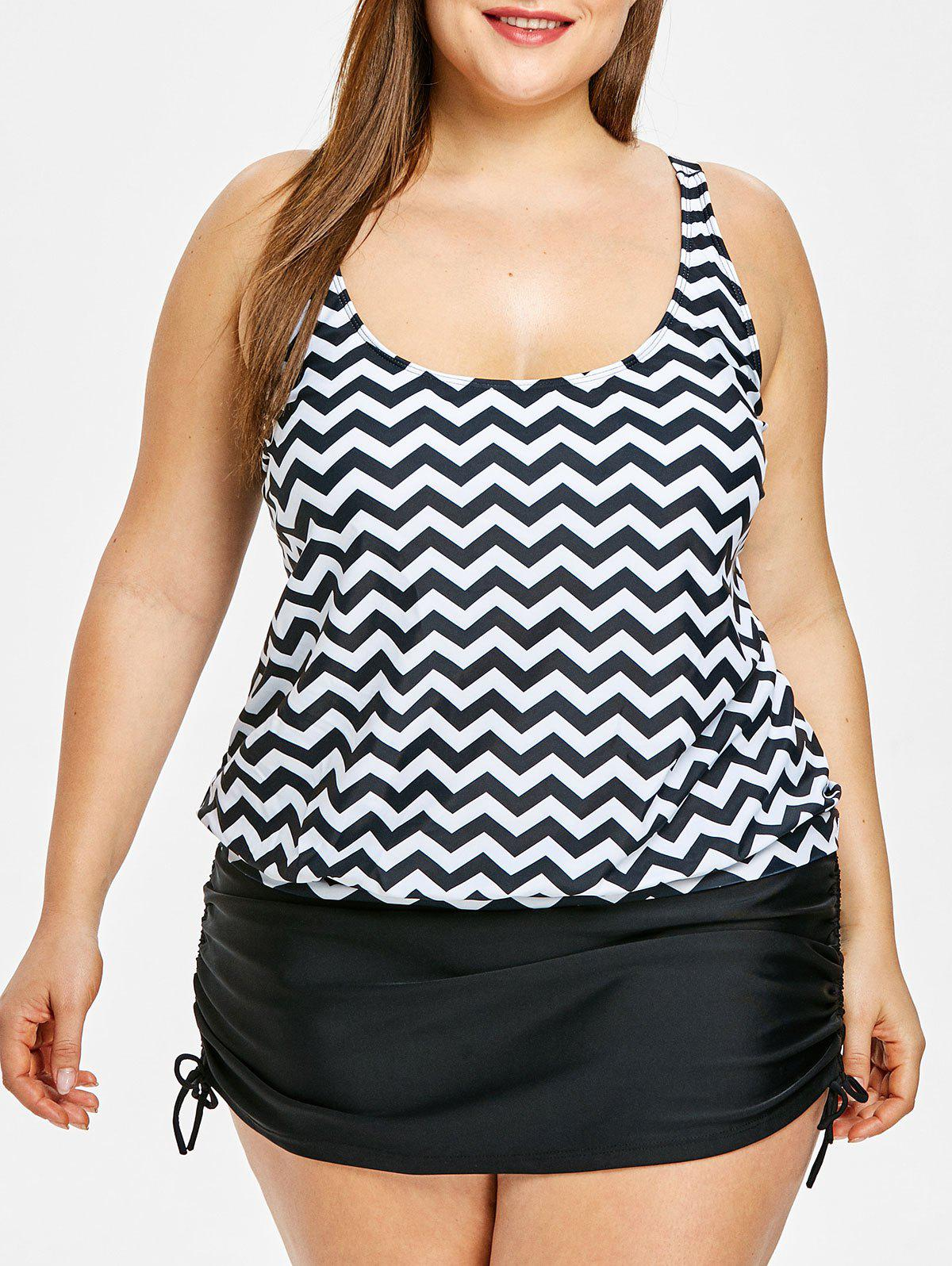 Latest Plus Size Zigzag Print Blouson Tankini Set